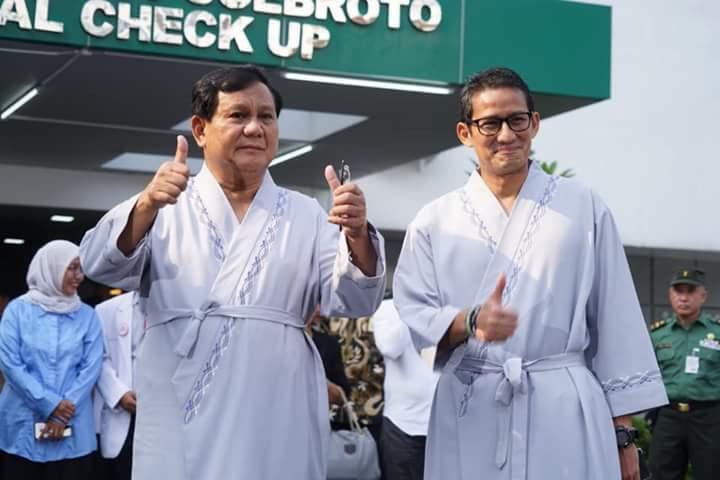 Prabowo-Sandi Tes Kesehatan, Netizen Sampaikan Komentar Kocak dan Cerdas