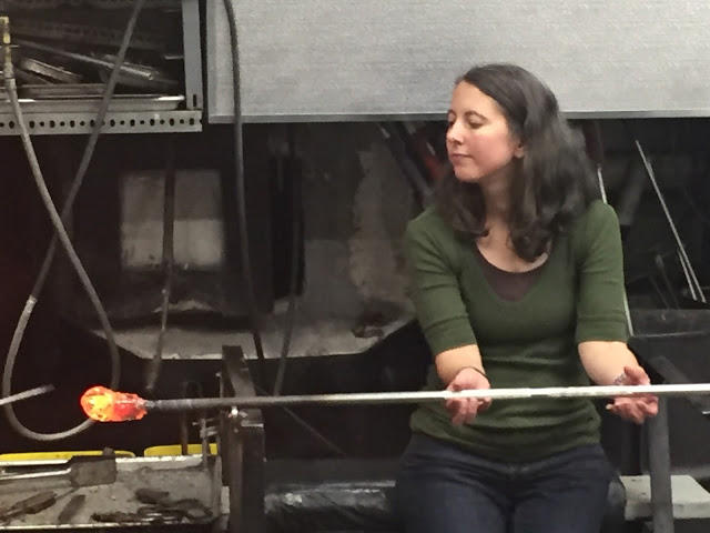 Working with hot glass at Patterson Glassworks