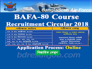 Bangladesh Air Force BAFA-80 Course Cadet Recruitment Circular 2018