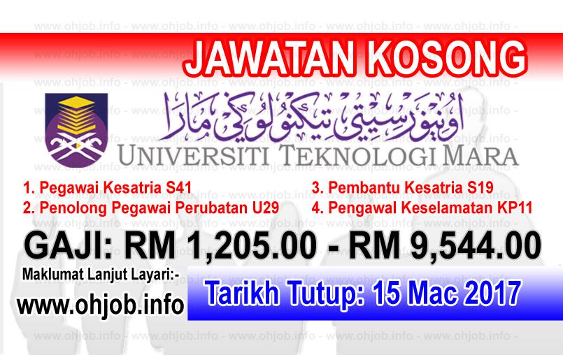 Jawatan Kerja Kosong UiTM - Universiti Teknologi MARA logo www.ohjob.info mac 2017