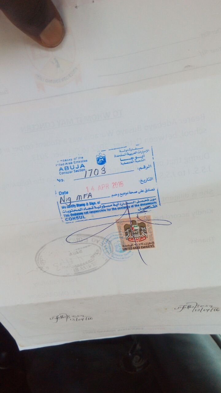 Samples of attested documents at the ministry of education for Consul authentication