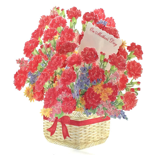 Blooming Basket - Carnation - Mother's Day Pop Up Greeting Card …