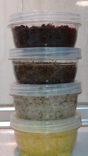 exfoliantes de naranja, lavanda, tomillo y cacao