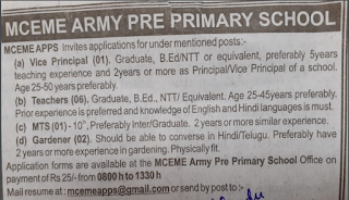 MCEME Army Pre Primary School MTS Previous Year Question Papers and Syllabus 2019-20