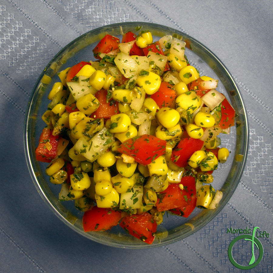 Morsels of Life - Cilantro Corn Salsa - A simple, yet flavorful, corn salsa with red pepper, onion, and plenty of cilantro.