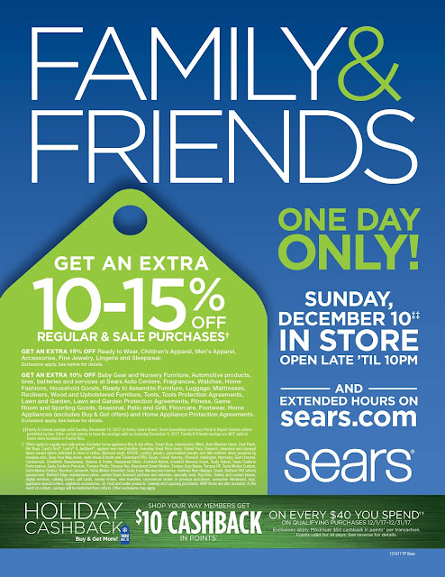 THIS SUNDAY! Do Your Holiday Shopping at Sears F&F!