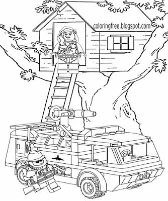 Clipart emergence service red truck fire vehicle printable Lego colouring pictures tree house rescue