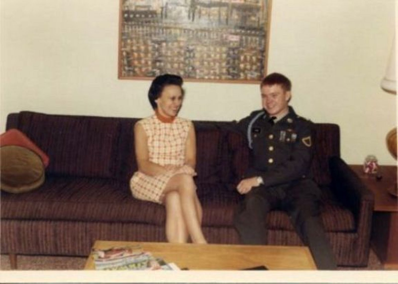 MY MOM IRENE, WITH ME IN UNIFORM ON THE NIGHT I  WAS LEAVING TO VIETNAM  ON JAN 19TH,1969