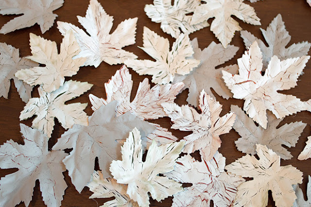 crackled chalk paint dollar store leaves tutorial