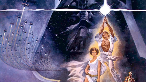 Pôster do filme Star Wars, com Luke Skywalker, a princesa Leia, o robô C3PO e o mal encarnado Darth Vader