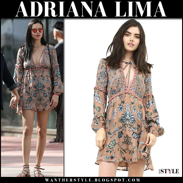Adriana Lima in beige floral print mini dress for love and lemons saffron, sandals and mirrored sunglasses krewe model street fashion february 6
