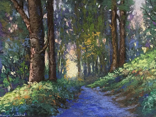 A soft pastel painting of a landscape as seen at West Sikkim.A painting by Manju Panchal