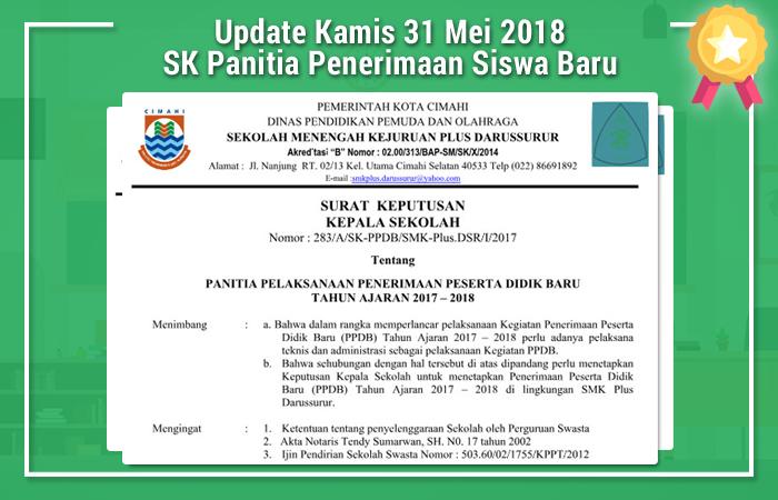 Update Kamis 31 Mei 2018 SK Panitia Penerimaan Siswa Baru