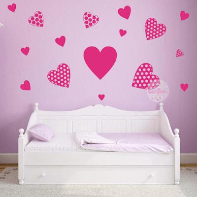 vinilos decorativos, vinilos infantiles corazones, vinilos corazon y lunares, vinilos dormitorios infantiles corazones