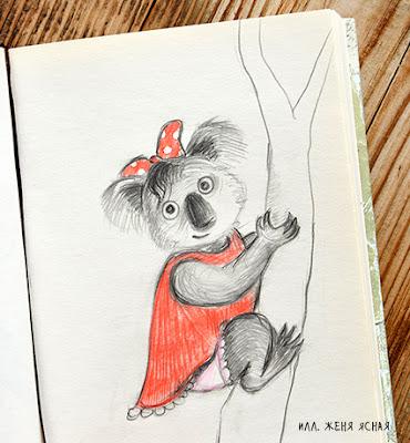 коала рисунок, коала рисунок карандашом