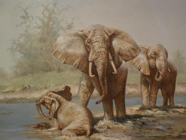 tranh son dau voi