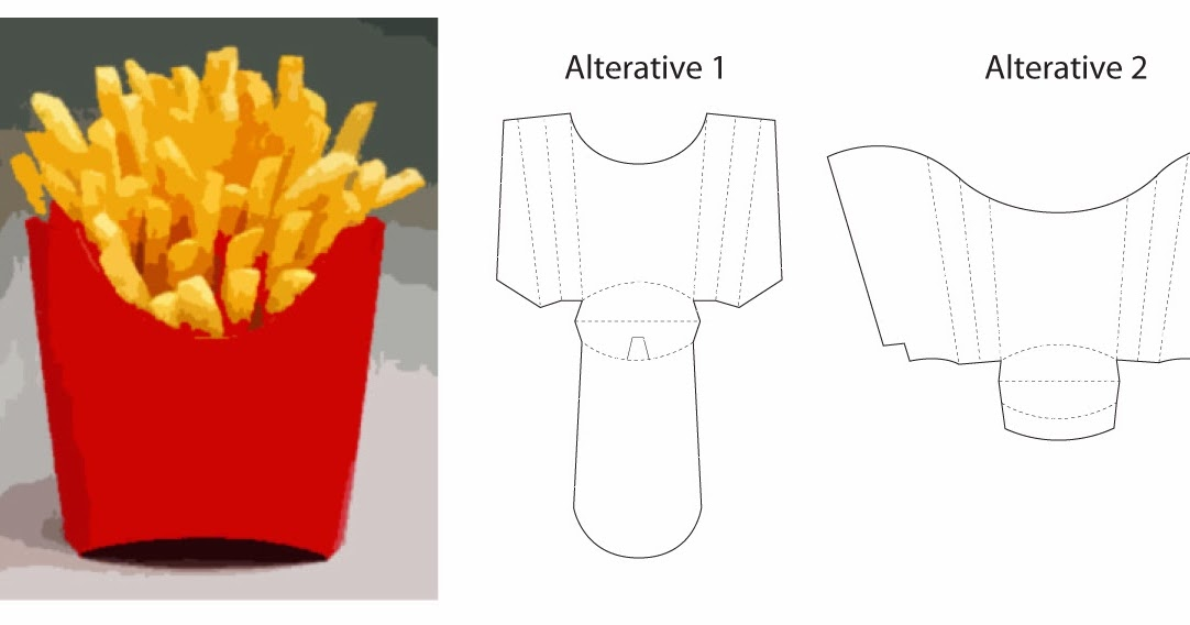 Vector in graphic structural technical drawing for French fries packaging template