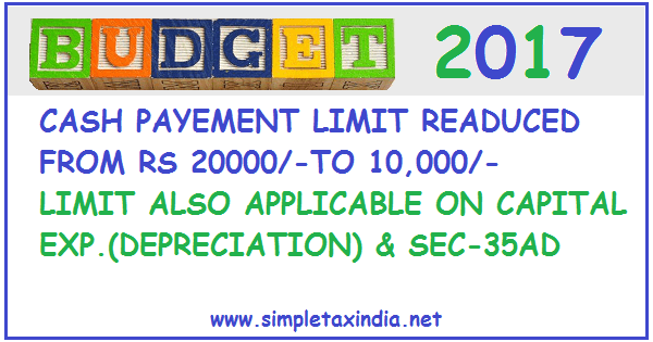 CASH PAYMENT LIMIT REDUCED TO Rs 10000/- FROM Rs 20000 ...