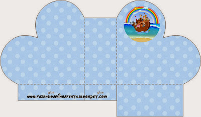 Noah's Ark in Light Blue Free Printable Boxes.