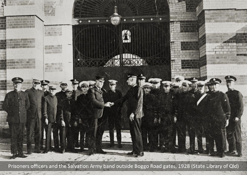 Prison officers and the Salvation Army Band outside the Boggo Road gates, 1928
