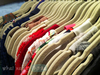 "What Mandy Thinks: Image of some of my clothes: ""Of course I organize my hung-up clothes by color."""