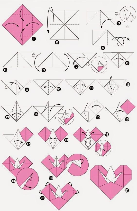 Mundo Origami Jk Corazon Con Grulla Origami - Origami-corazn