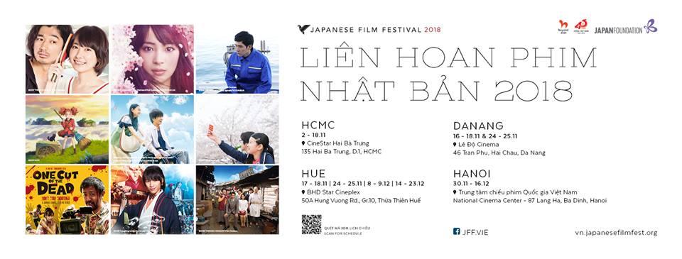 Liên hoan phim Nhật Bản 2018 tại Đà Nẵng, Huế, Hà Nội, TP HCM