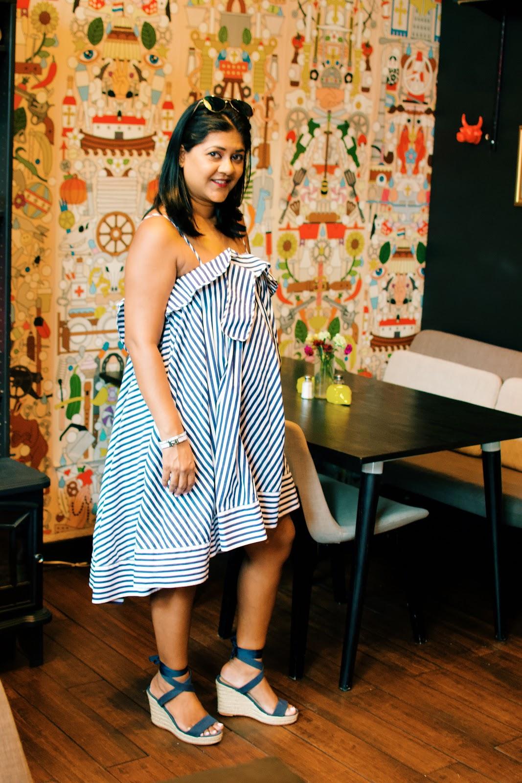 blue striped ruffle dress, brunch in Astoria No5 brunch