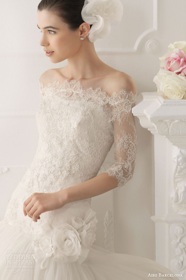 Shown With Off Sholder 3 4 Sleeve Lace Jacket