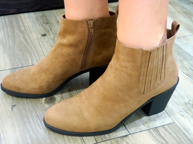 Checked Out - outfit shoe details of low heeled, suede effect, sandy brown ankle boots