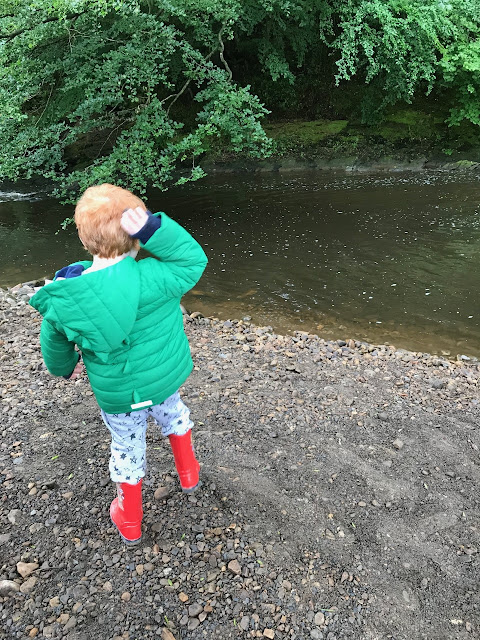 A red haired boy throwing stones