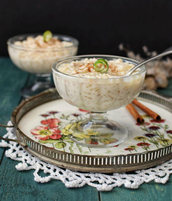 Arroz con leche elaborado con arroz integral servido en copas