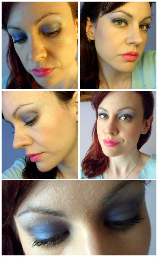 Maquillaje azul y blanco con el maquillaje de It Style Make Up Madrid