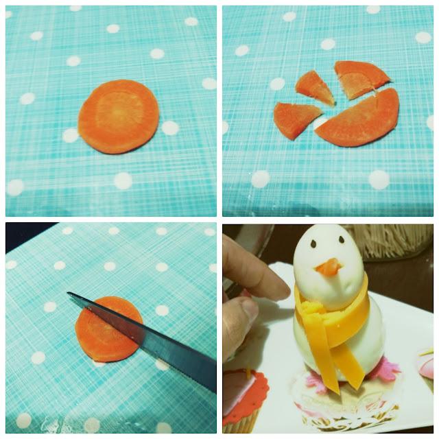 Cortando la zanahoria en 4 triángulos