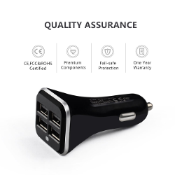 Car Charger,Ailkin 6.8A/34W 4-port USB Compact High Output Car Charger for iPhone 6 5S 4S , iPad 4,iPad mini, Samsung Galaxy S4 S3 S5,GPS and Digital Devices