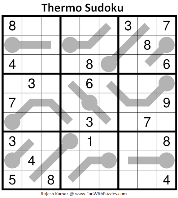 Thermometer Sudoku Puzzle (Fun With Sudoku #314)
