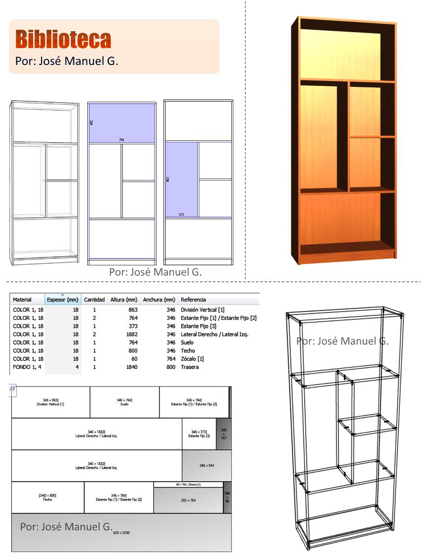 Dise o de muebles madera biblioteca despiece desglose for Planos de muebles de madera pdf