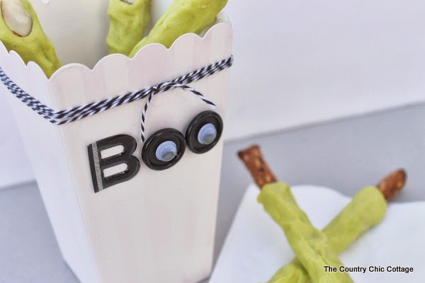 Make your own witch's fingers treats and add them to a DIY decorative Halloween box.  A fun idea for any Halloween party!