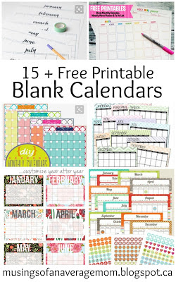 free monthly calendars