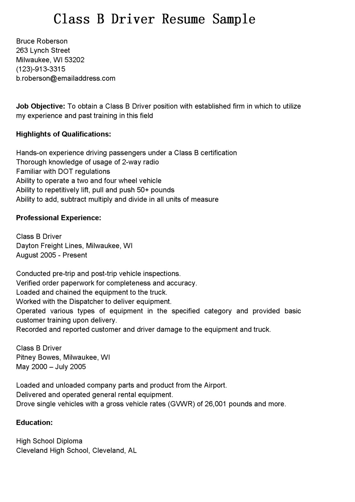 Cdl Driver Resume Sample Driver Resumes Class B Driver Resume Sample