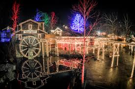 Old Mill in Pigeon Forge is lit-up for the holidays