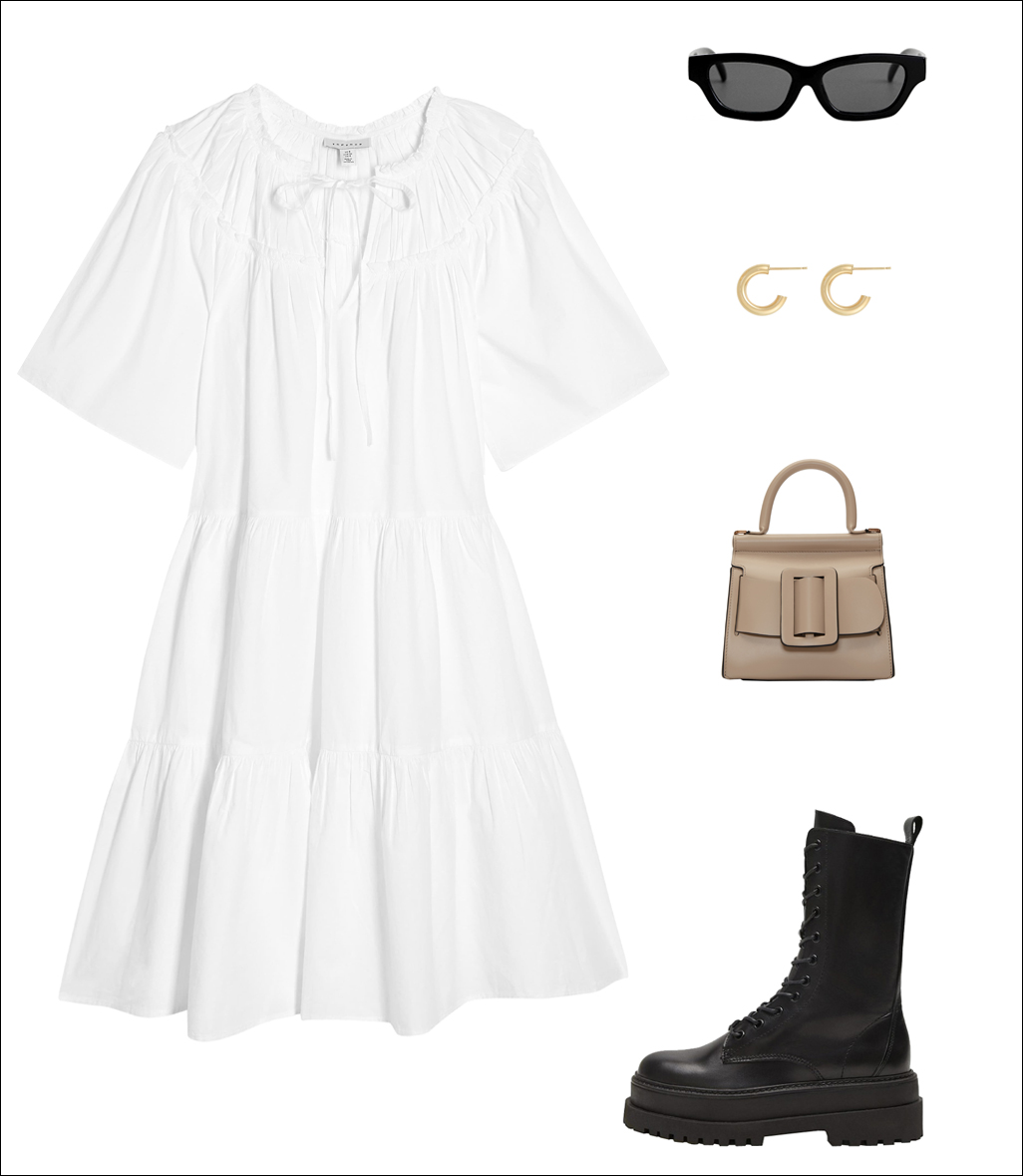 How to Wear a White Dress for Fall — Fashion-forward oversized white dress, black sunglasses, gold hoop earrings, Boyy karl mini bag, black lace-up combat boots