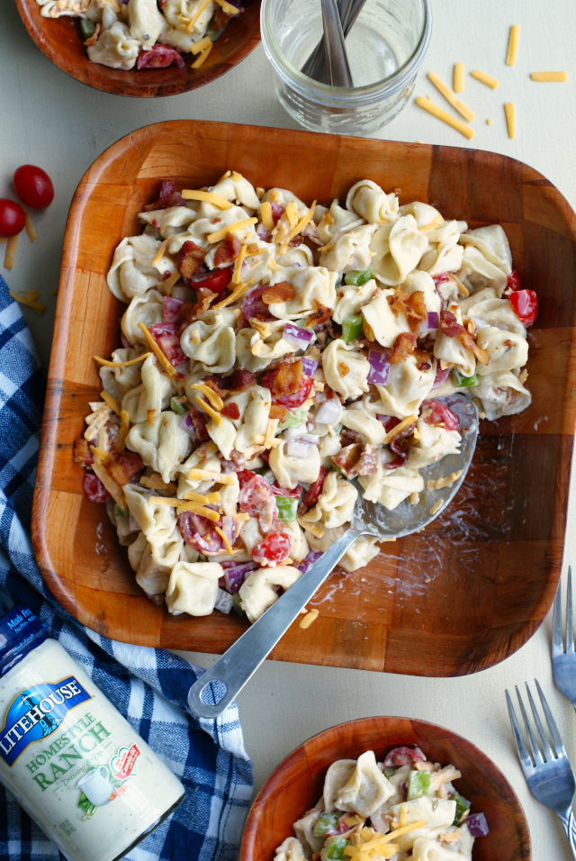 Bacon Ranch Tortellini Salad Is A Party Perfect Pasta Salad That Pairs Cheese Filled Tortellini