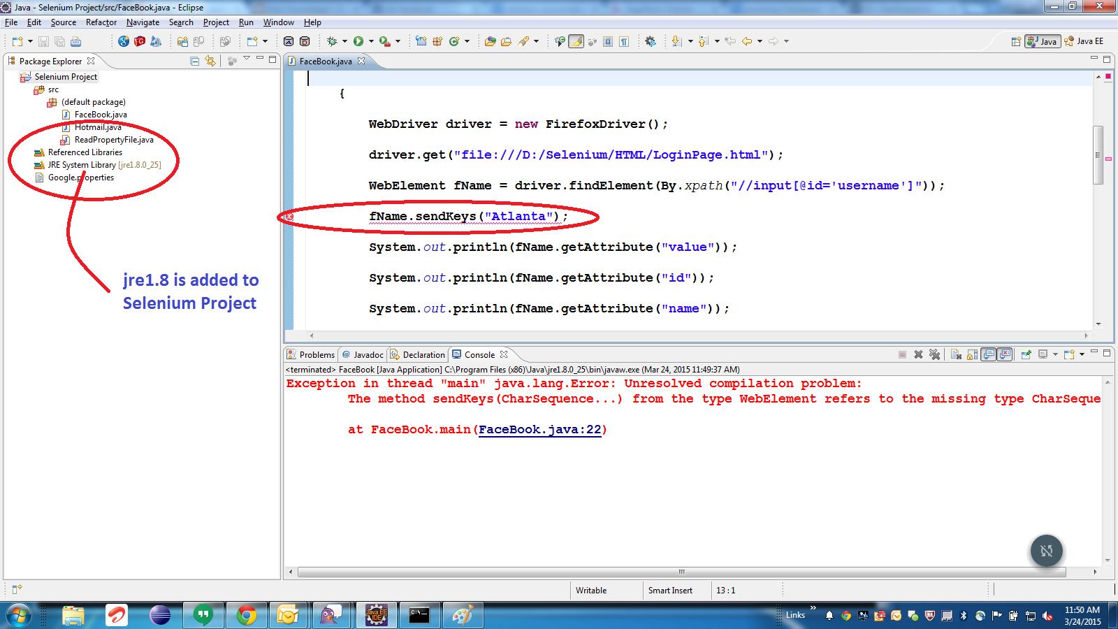 Gain Knowledge!!: Error using sendKeys() with Selenium