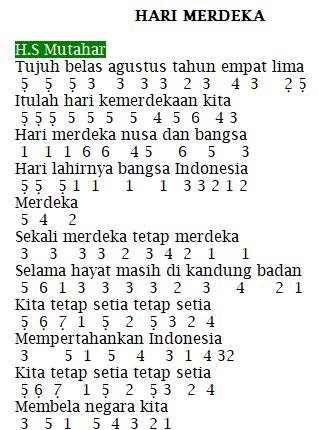 Not Angka Pianika Lagu - Hari Merdeka (17 Agustus) - HS. Mutahar