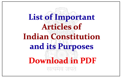 List of Important Articles of Indian Constitution and its