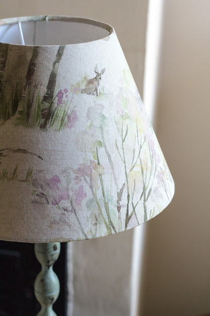 Lampshade with 'Enchanted Forest' fabric by Voyage