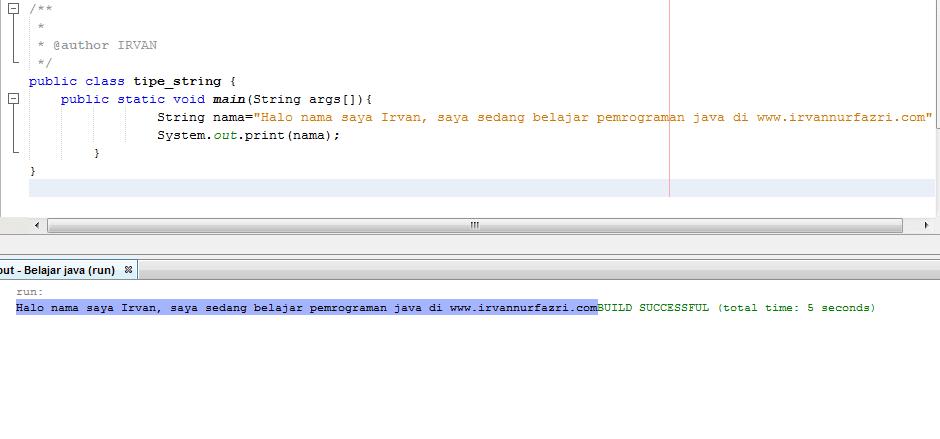 Tipe data string pada Java - #IRVANGEN