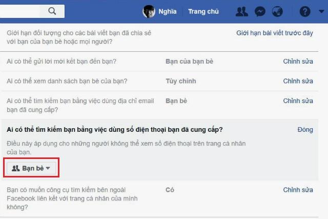 chặn tìm kiếm facebook bằng số điện thoại 4