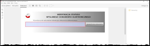 Pole weryfikacji statusu przesłanego formularza